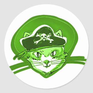 Adesivo Redondo estilo dos desenhos animados do gato do pirata