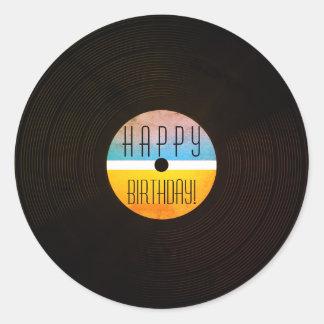 Adesivo Redondo Estilo gravado Musical do vintage do vinil da