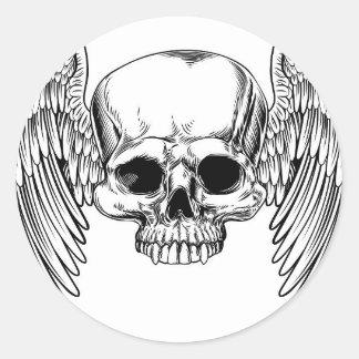 Adesivo Redondo Estilo retro voado do Woodcut do vintage do crânio