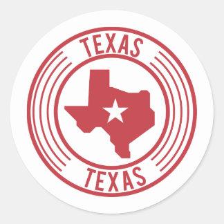 Adesivo Redondo Estrela branca do mapa vermelho de Texas no