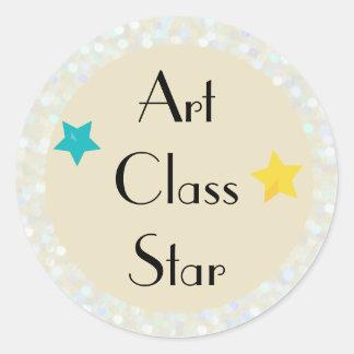 Adesivo Redondo Estrela da classe de arte com estrelas