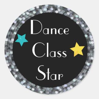 Adesivo Redondo Estrela da classe de dança com estrelas