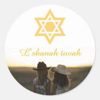 Adesivo Redondo Estrela de David de Rosh Hashanah do tovah de
