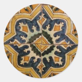 Adesivo Redondo Estrela turca do amarelo do azulejo do vintage do