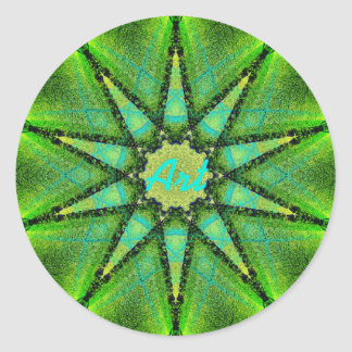 Adesivo Redondo Estrela verde da arte