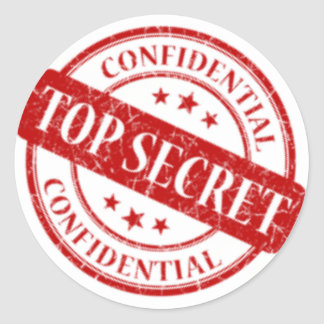 Adesivo Redondo Estrelas brancas do selo confidencial extremamente