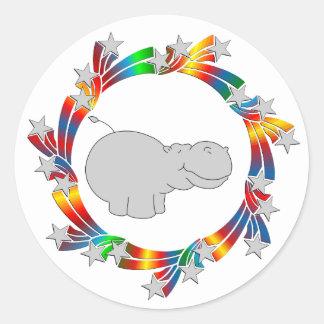 Adesivo Redondo Estrelas do hipopótamo