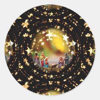 Adesivo Redondo Estrelas infantis de Jesus da Virgem Maria da ucha