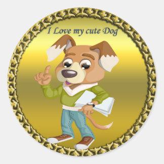 Adesivo Redondo Estudante do cão dos desenhos animados que obtem