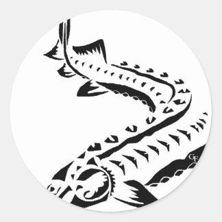 Adesivo Redondo Esturjão tribal - beluga de Huso