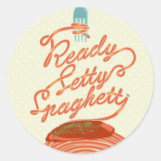 """Adesivo Redondo """"Etiqueta dos espaguetes prontos de Setty"""""""