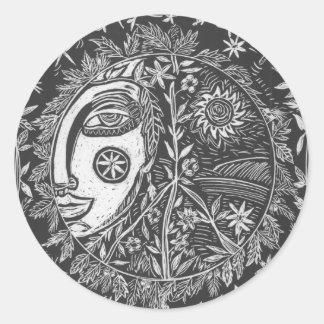 Adesivo Redondo Etiqueta, guardião do jardim, jornal da arte