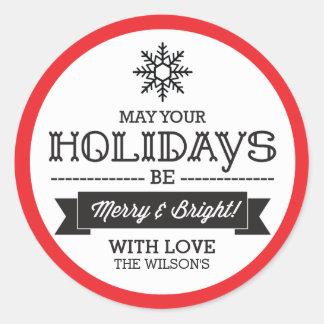 Adesivo Redondo Etiquetas/etiquetas do presente do Natal