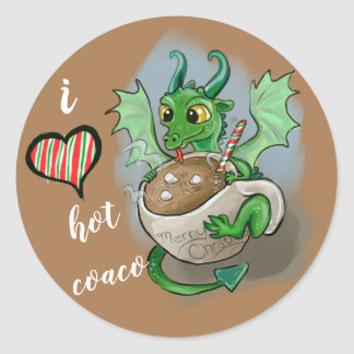 Adesivo Redondo EU AMO a caneca quente do Natal do dragão do bebê