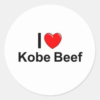 Adesivo Redondo Eu amo a carne de Kobe do coração