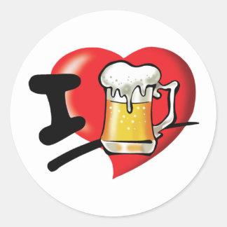 Adesivo Redondo Eu amo a cerveja