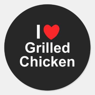 Adesivo Redondo Eu amo a galinha grelhada coração