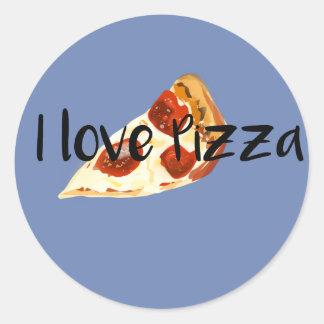 Adesivo Redondo Eu amo a pizza