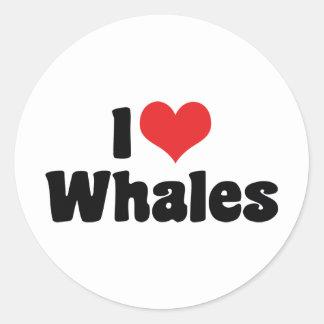 Adesivo Redondo Eu amo baleias do coração - amante da baleia