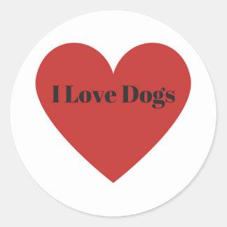 Adesivo Redondo Eu amo cães