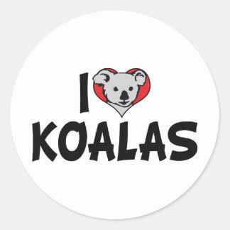 Adesivo Redondo Eu amo Koalas do coração - amantes do urso de