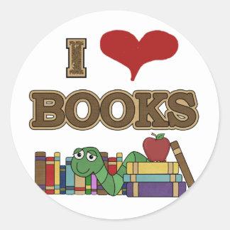 Adesivo Redondo Eu amo livros