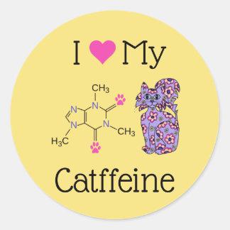 Adesivo Redondo Eu amo meu gato roxo bonito da cafeína de