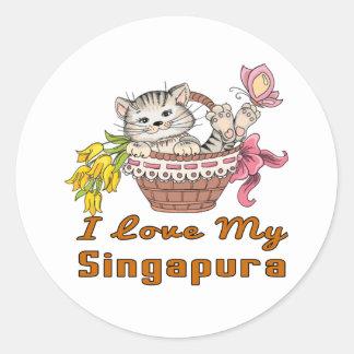 Adesivo Redondo Eu amo meu Singapura
