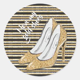 Adesivo Redondo Eu amo meus calçados do ouro