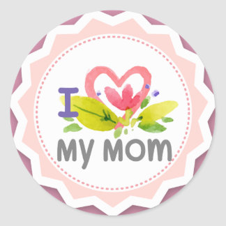 Adesivo Redondo Eu amo minha flor Starburst do coração da mamã