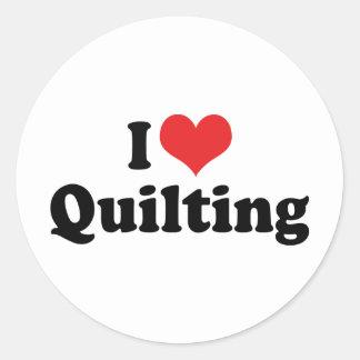 Adesivo Redondo Eu amo o acolchoado do coração - Quilter Sewing