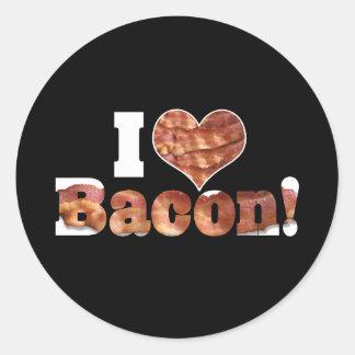 Adesivo Redondo Eu amo o bacon