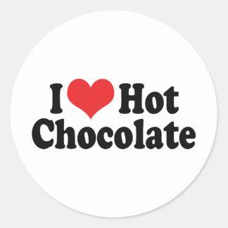 Adesivo Redondo Eu amo o chocolate quente do coração - amantes