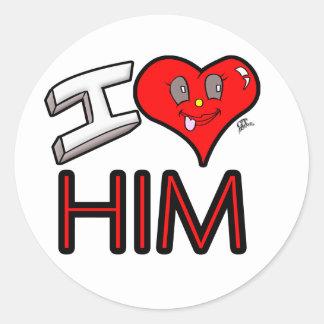 Adesivo Redondo Eu amo-o com coração
