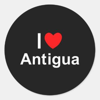 Adesivo Redondo Eu amo o coração Antígua