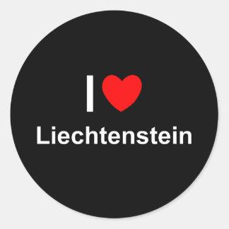 Adesivo Redondo Eu amo o coração Liechtenstein