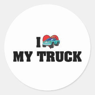 Adesivo Redondo Eu amo o coração meu caminhão - amante do caminhão