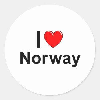 Adesivo Redondo Eu amo o coração Noruega