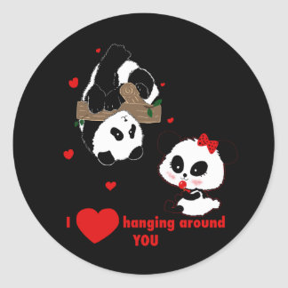 Adesivo Redondo Eu amo pendurar em torno de você pandas