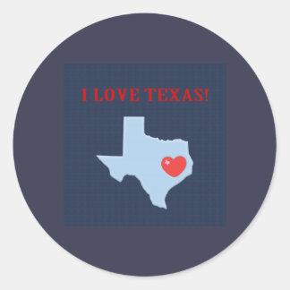 Adesivo Redondo Eu amo Texas