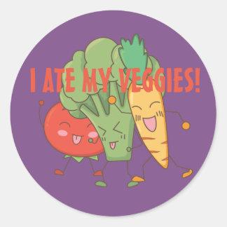 Adesivo Redondo Eu comi meu roxo da cenoura dos brócolos do tomate