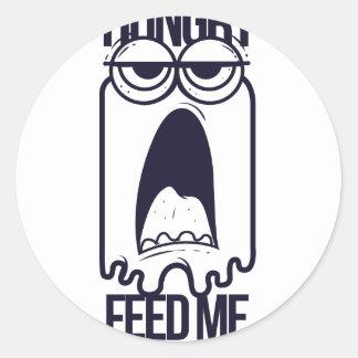 Adesivo Redondo eu estou com fome alimento-me humano
