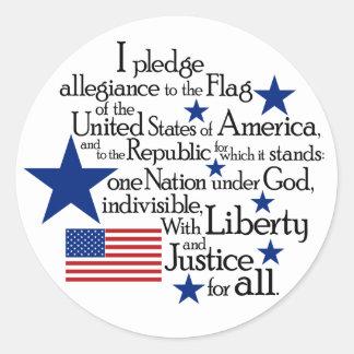 Adesivo Redondo Eu prometo a fidelidade à bandeira do unido