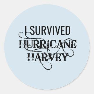 Adesivo Redondo Eu sobrevivi ao furacão Harvey