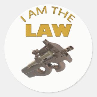 Adesivo Redondo Eu sou a lei com uma metralhadora m4a1