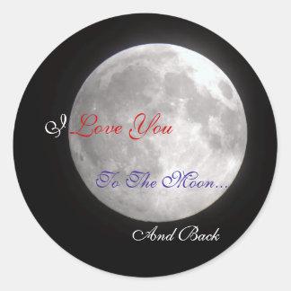 Adesivo Redondo Eu te amo à lua e à parte traseira