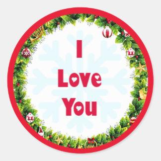 Adesivo Redondo Eu te amo Natal