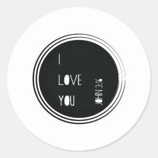 "Adesivo Redondo ""Eu te amo"" verso do cristão do 3:16 de John"
