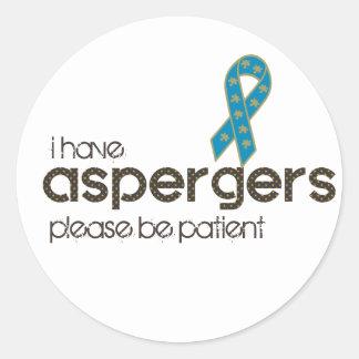 Adesivo Redondo Eu tenho Aspergers