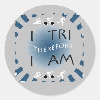 Adesivo Redondo Eu tri conseqüentemente mim sou Triathlon
